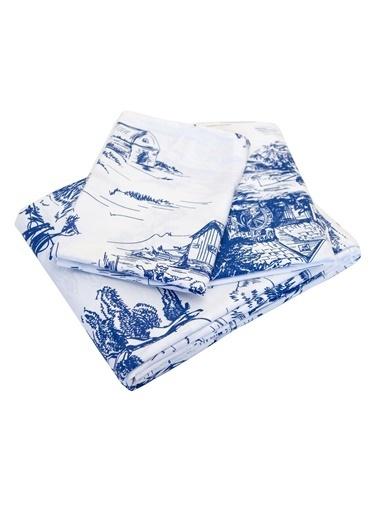 Maki Touile Mavi Tek Kişilik Nevresim ve Yastık Kılıfı Seti Beyaz
